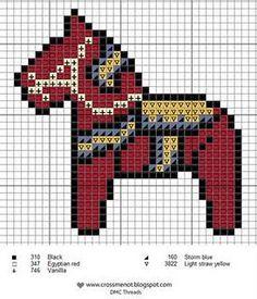 kostenlose Stickanleitung für ein schwedisches Dala-Pferd