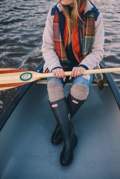 Gal Meets Glam Morning Canoe On Blueberry Lake - Penfield jacket, J.Crew vest, J.Crew turtleneck, Current Elliott jeans, Hunter boots & cable socks