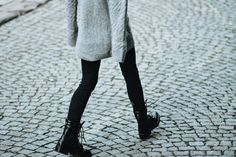 combat boots knit sweater