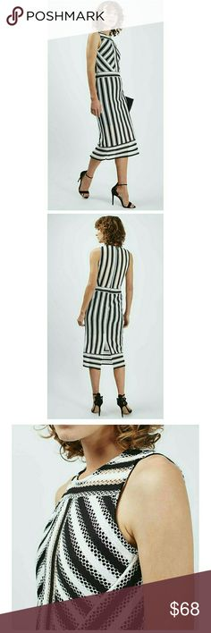 Topshop Mesh Striped Midi Dress Dress features:  Midi length  Sleeveless  Striped print  Mesh fabric  Top lining covers left and right chest - middle chest see thru mesh  Bottom lining goes down half way, see pic #4 Back Hidden zipper Slit on back  100% polyester Topshop Dresses
