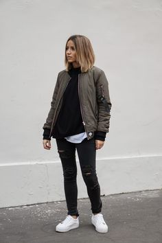 83a7065125 More ideas. Bomber jackets will ultimately look cool over any outfit.  Camille Callen wears this oversized khaki