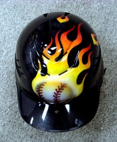 Flaming Baseball Helmet photo FlameBallHelmet.jpg