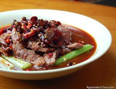 Sichuan Boiled Beef in Fiery Sauce (beef, stock)