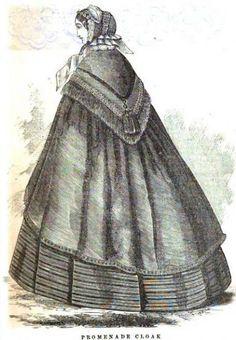 Civil War fashion image of a promenade cloak.