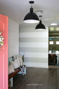DIY Striped Accent Wall | I love this gray and white striped wall, such an easy tutorial on how to stripe walls with straight lines and no bleeding or touch ups! Adore this gray white home decor, such a cute accent wall!