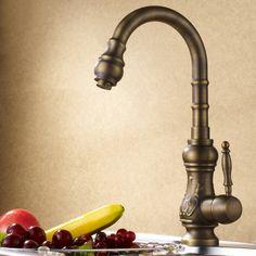 Classic Antique Brass Single Lever Kitchen Faucet