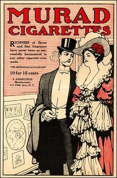 American Gilded Age society couple at the theater. Advertisement for Murad Cigarettes.   S. Amargyros - Manufacturer - 111 Fifth Ave. NYC. ~ {cwl}