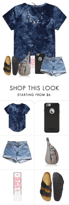 """""""finally bought new birks! """" by arieannahicks ❤ liked on Polyvore featuring Haus of JR, OtterBox, Levi's, Kavu, Maybelline and Birkenstock"""