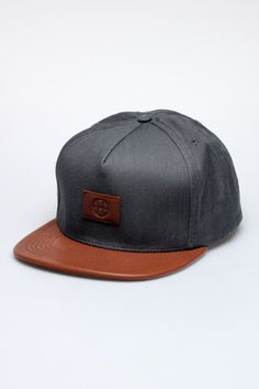 12c74915185 HUF Leather Circle H Snapback Hat Jack Threads