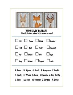 Baby Animals Matching Game Free Printable | A Love Letter to Food | www.alovelettertofood.com