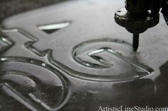 water jet cut starphire 12 mm glass trophy