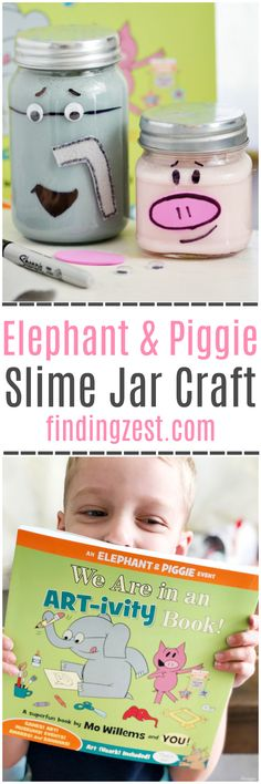 Check out the fun Elephant and Piggie Slime Jars craft we created, inspired by the Elephant and Piggie ART-ivity book by Mo Willems!  This kid-friendly craft is perfect for a rainy day!
