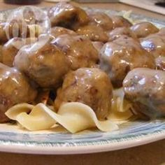 Ok, so there are a ton of meatball recipes on this site. Try it if you like savory, big meatballs to serve with whipped potatoes or egg noodles. Meatball Nirvana Recipe, Meatball Recipes, Meat Recipes, Cooking Recipes, Yummy Recipes, Kid Cooking, Cooking Lamb, Recipies, Yummy Food
