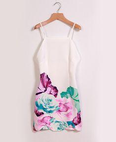 Vestido justo floral de alça e decote nas costas