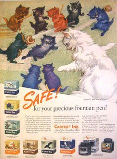 1944 WWII - CARTER'S INK FINEST FOR FOUNTAIN PENS - V-MAIL - Cats Baseball AD