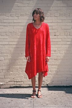 LONG SLEEVE KNIT DRESS, RED