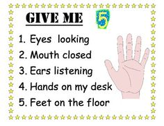 "Classroom Management ~ ""Give Me 5"" Poster"