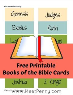 One of the things I am teaching our children is to know the order of the books in the Bible (Protestant) from these free printable cards.