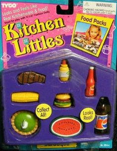 Barbie food TYCO Kitchen Littles CORN ON THE COB Barbecue BBQ Picnic miniature