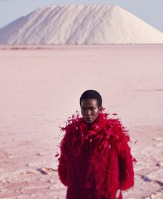 Think Pink: Aamito Lagum by Daniel Riera for Harper's Bazaar US december 2016 / january 2017 #lake #travel #fur