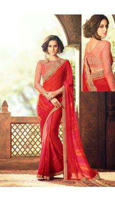 Red Georgette Saree With Blouse - DMV11141