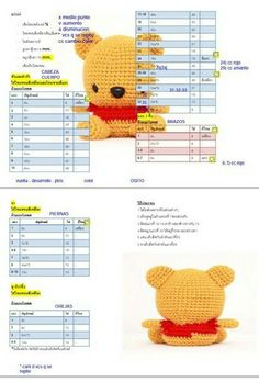 Winnie The Pooh portachiavi amigurumi schema gratis tutorial walt Disney Crochet Stitches Patterns, Crochet Patterns Amigurumi, Amigurumi Doll, Crochet Dolls, Crochet Gratis, Free Crochet, Quick Crochet, Crochet Baby, Pikachu Crochet