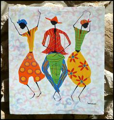 "Haitian Dancers and Drummer - Canvas Painting - Art of Haiti  - 20"" x 24""  - www.HaitiGallery.com"
