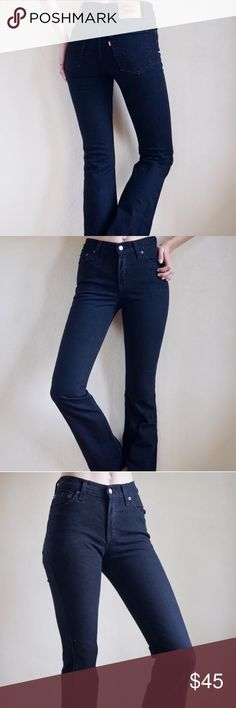 c37e63ea438f1 Vintage Levi s black 517 flare jeans Vintage Levi s 517 high waisted black  denim flared jeans.