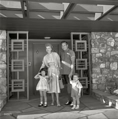 """Actress Lucille Ball and husband Desi Arnaz with children Desi Jr. and Lucie in front of their Palm Springs home."" 1954. #1950s #vintage #celebrity"