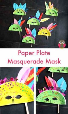 Paper Plate Masquerade Masks - Emma Owl | paper plate Crafts for Kids Paper Plate Crafts For Kids, Easy Crafts For Kids, Toddler Crafts, Creative Crafts, Projects For Kids, Diy For Kids, Paper Crafts, Summer Crafts, Art Projects