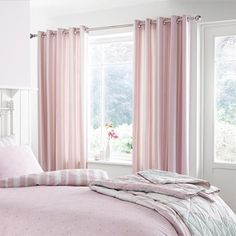 Catherine Lansfield Home Vintage 200 Thread Count Cotton Rich Percale Eyelet Lined Curtains, Pink, 66 x 72 Inch