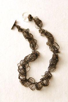 """Karen Gilbert - """"Loops Necklace,"""" silver, glass"""