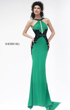 """Dress length: 45"""" (Waist to hem) Shown in: Emerald/Black Have an awesome look with Sherri Hill 32013. This elegant long gown features an open back design that makes you look classy."""
