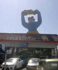Missing from a Simi Valley, California, car dealership: an inflatable gorilla – which inevitably brings up the question of how the heck does one steal a 350-pound inflatable primate from the roof?  The gorilla was reported stolen from the roof of First Kia, 2081 First St. The gorilla is sometimes deflated when it's windy, and the dealership's employees assumed that's what had happened until someone climbed onto the roof and discovered it was missing.