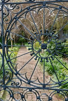 Love the look of this iron gate as an entrance to this courtyard garden.