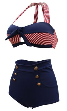 Cocoship Retro Navy Blue Short Red White Stripe High Waist Bikini Halter Swimwear Bathing Suit XXXL(FBA)