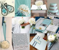 Gorgeous light Tiffany blue and grey wedding colors!