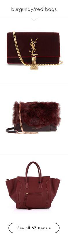 """burgundy/red bags"" by mrstomlinson974 on Polyvore featuring bags, handbags, shoulder bags, burgundy, yves saint laurent handbags, monogrammed purses, velvet purse, red shoulder bag, red handbags and purses"