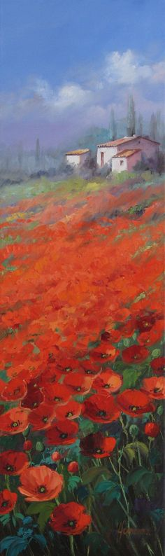 Artist Ute Herrmann - Original oil painting - Red poppy field in Provence. Urban Painting, Watercolor Pictures, Flower Landscape, Oil Painting Flowers, Impressionist Art, Red Poppies, Painting Inspiration, Amazing Art, Landscape Paintings