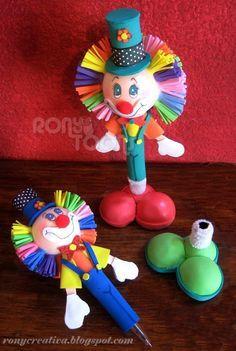 ronycursosdisponibles: CURSO DE PAYASOS DE FOMI EN 3D / FOFUCHOS-PAYASOS Foam Crafts, Easy Crafts, Diy And Crafts, Crafts For Kids, Clown Party, Circus Party, Clay Pen, 3d Quilling, Tatting Jewelry