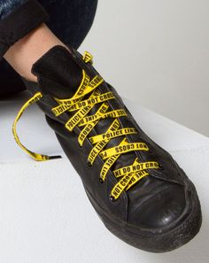 POLICE LINE DO NOT CROSS Yellow Shoelaces with Attitude from Allriot political t-shirts