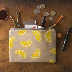 Screen Printed Linen Bag - Lemons