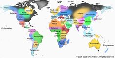 A Detailed World Map of Genetic Territories (Copyright 2006-2009 DNA Tribes (R)…