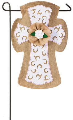 Features:  -Easter collection.  -Material: Polyester and burlap.  -Religious.  Primary Pattern: -Flower.  Holiday Theme: -Yes.  Holiday: -Easter.  Seasonal Theme: -Yes.  Season: -Spring.  Color: -Whit