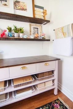 In plain site: http://www.stylemepretty.com/living/2015/03/17/10-ways-to-get-organized/