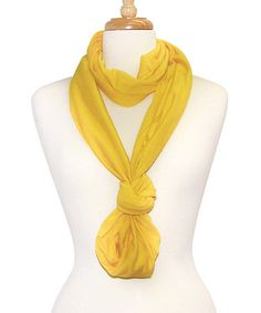 """One of """"infinity"""" ways of tying a scarf... This Yellow Infinity Scarf is perfect! #zulilyfinds"""