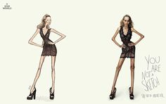 Say no to anorexia: Star Models, a modeling agency based in Brazil, has released a graphic new anti-anorexia ad campaign, using Photoshop to turn models into life-size fashion illustrations