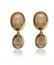 Goossens Rock Crystal Double Drop Clip Earrings