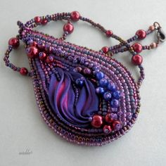 Purple necklace with Shibori ribbon