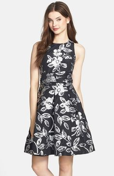 Eliza J Floral Jacquard Bow Back Fit & Flare Dress available at #Nordstrom